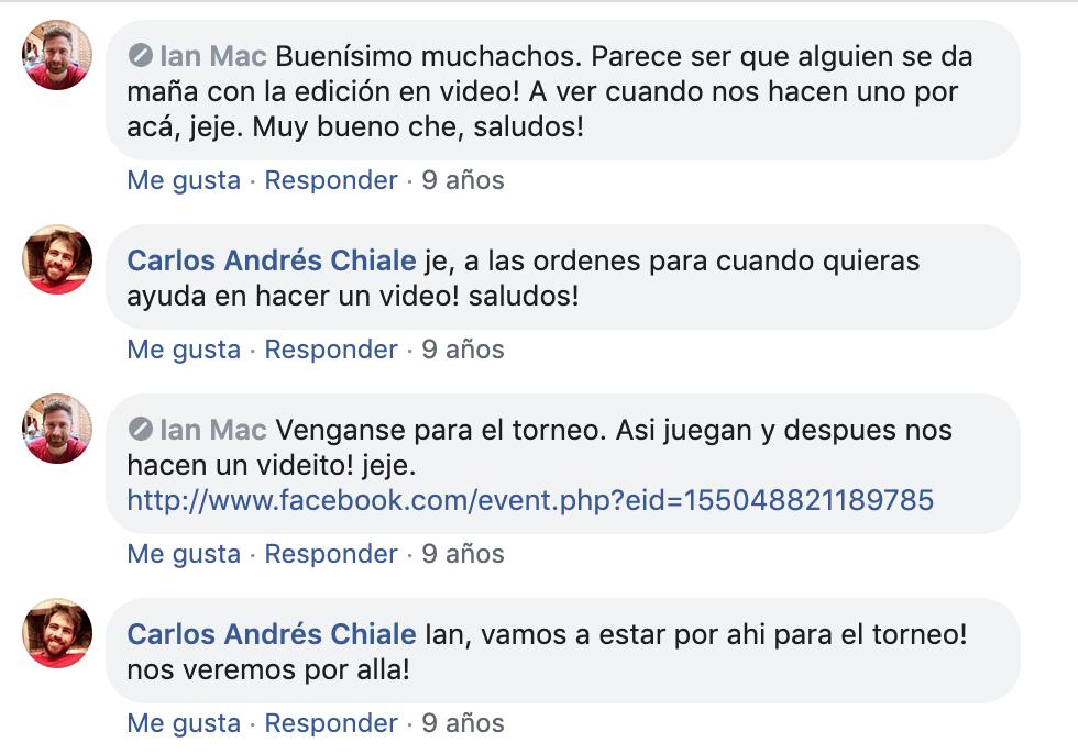 Intercambio de comentarios entre Ian y Carloncho.