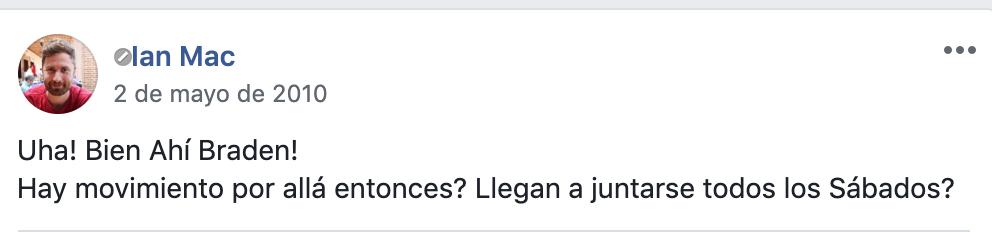Ian publicando en el grupo de facebook